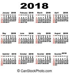 european calendar of 2018
