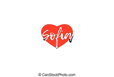 European capital city sofia love heart text logo design