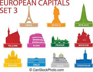 European capital symbols. Vector illustration. Set 3