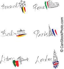 European capitals and landmarks