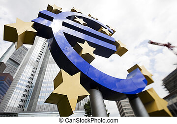 European central bank - Euro symbol in european central bank...
