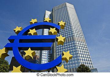 European central bank with Euro sign sculpture, Frankfurt am...
