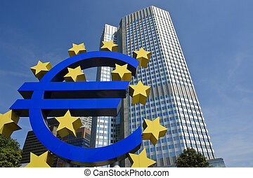 European central bank with Euro sign sculpture, Frankfurt am...