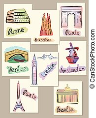 European cities sights in watercolo