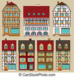 European city houses - Vector illustration of european...