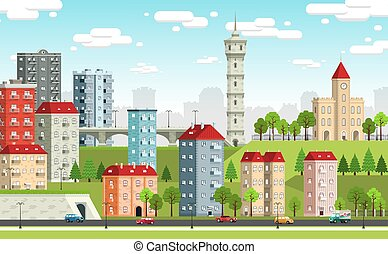 European city landscape with colored houses