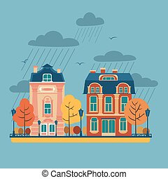 European City Urban Landscape with Vintage Houses and Trees