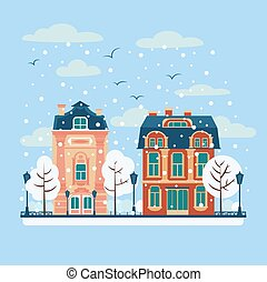 European City Urban Landscape with Vintage Houses and Trees in Winter