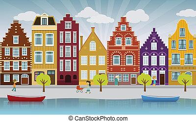 European city - vector illustration of european city...