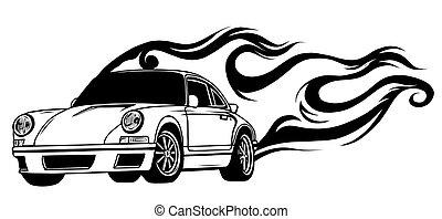 European classic sports car silhouettes, outlines, contours...
