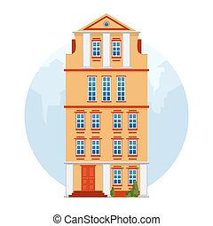 European colorful old house. Dutch style. Yellow historic facade. Traditional architecture of Netherlands or Poland. Vector illustration flat cartoon style. White isolated background.