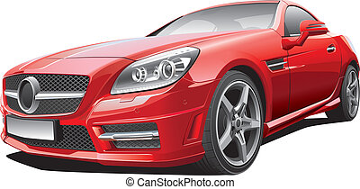 European compact roadster - Detail vector image of European...