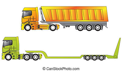 European construction site trucks with their trailers
