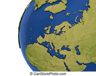 European continent on Earth - Europe on detailed model of ...