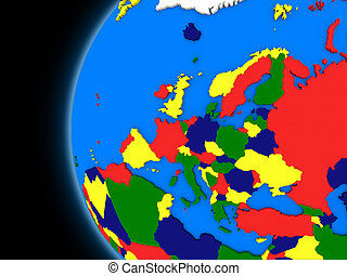 European continent on political Earth - Illustration of ...