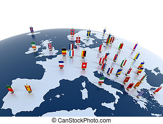 european countries 3d illustration - european continent...