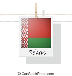European country flag collection with photo of Belarus flag
