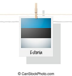 European country flag collection with photo of Estonia flag