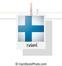 European country flag collection with photo of Finland flag