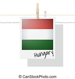 European country flag collection with photo of Hungary flag