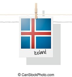 European country flag collection with photo of Iceland flag