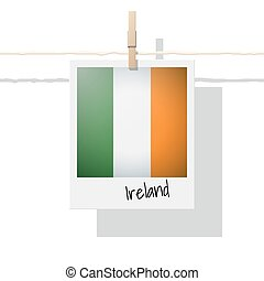 European country flag collection with photo of Ireland flag