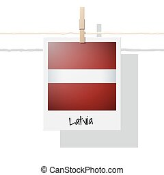 European country flag collection with photo of Latvia flag