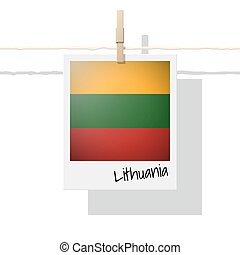 European country flag collection with photo of Lithuania flag