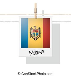 European country flag collection with photo of Moldova flag
