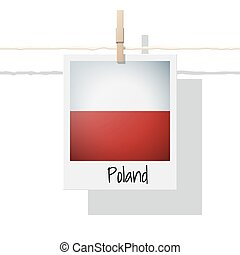 European country flag collection with photo of Poland flag