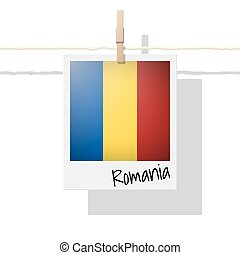 European country flag collection with photo of Romania flag