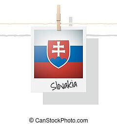 European country flag collection with photo of Slovakia flag