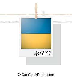 European country flag collection with photo of Ukraine flag