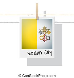 European country flag collection with photo of Vatican City State flag