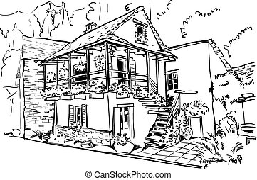 European country house - Illustration vector sketch the...