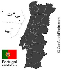 Portugal and districts - european country Portugal and...