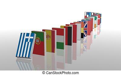 European crisis 3d domino