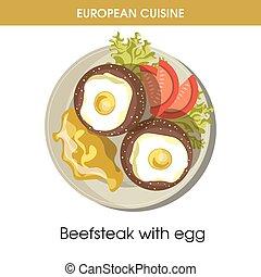 European cuisine beefsteak egg traditional dish food vector ...
