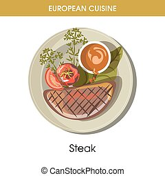European cuisine meat steak traditional dish food vector icon for restaurant menu