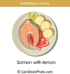 European cuisine salmon fish traditional dish food vector icon for restaurant menu