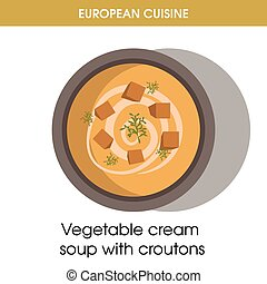 European cuisine vegetable soup traditional dish food vector icon for restaurant menu