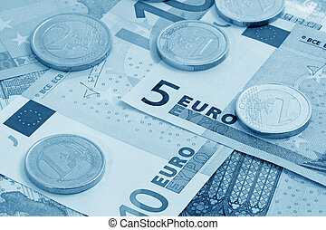 European currency (blue toned)