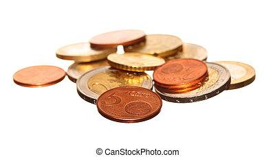 european currency euro coins money on white - european...