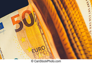 Euro Cash Money Close Up