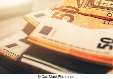 Pile of Euro Banknotes Cash Money