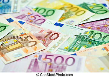 European currency money euro banknotes bill. Close-up