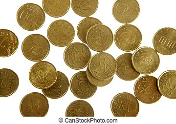 European currency over white - Twenty cents of euro texture,...