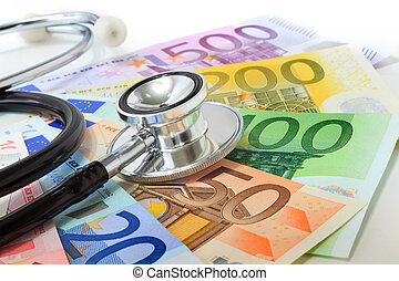 European currency sick concept: stethoscope on euro...