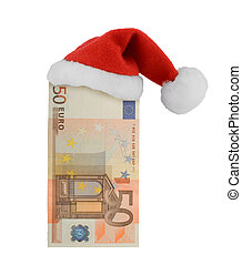 European currency and Santa Claus red hat isolated on white...