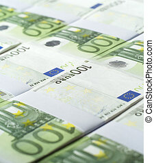 European Currency - Stacks of European Currency Full Frame